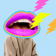 Contemporary Art Collage, Modern Design. Younf Man In Stylish Youth Clothes Headed Of Female Mouth, Lips Isolated On Bright Abstract Background. Fashion Concept