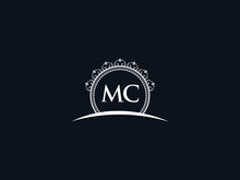 Luxury MC Letter, Initial Black Mc Logo Icon Vector For Hotel Heraldic Jewelry Fashion Royalty With Brand Identity And Print Template Image