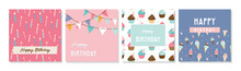 Happy Birthday Greeting Card Set And Party Invitation Templates, With Ice Cream, Donut And Muffin Patterns. Birthday Sweets And Treats. Vector Illustration