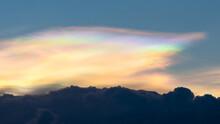Beautiful Of Nature Iridescent Pileus Cloud On Sky