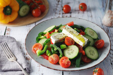 Traditional Greek Salad On The Plate