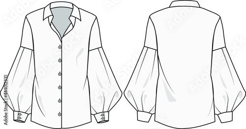 bishop sleeve shirt collar blouse vector, flat drawing, technical drawing or fashion illustration Fotobehang