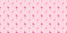Seamless Dotted Background With Flamingos. Simple Abstract Texture