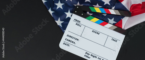 Canvas-taulu Clapper board or movie slate and Flag of the United States of America (USA