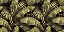 Golden Seamless Pattern With Shiny Banana Leaves, Palm. Tropical Exotic Vintage Hand-drawn 3d Illustration. Premium Bright Background Art Design. Luxury Wallpapers, Mural, Clothes, Fabric Printing