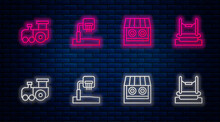 Set Line Basketball Backboard, Shooting Gallery, Toy Train And Bungee. Glowing Neon Icon On Brick Wall. Vector