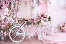 Pink Background. Retro Bike With Flowers Near The Porch, Threshold. Romantic Postcard