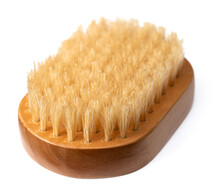 One Boar Bristles Brush Isolated On White Background