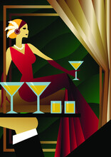 The Girl In Red Is Holding A Cocktail. The Waiter Delivers Drinks. Noir Style. 1920s. Art Deco Poster