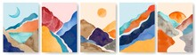 Watercolor Landscape Poster. Abstract Minimalist Painting With Mountains. Wall Art Posters With Watercolor Texture Nature Elements Vector Set. Trendy Contemporary Artworks With Sunset And Moon