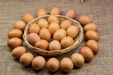 Lots Of Chicken Eggs Isolate On Hessian Fabric