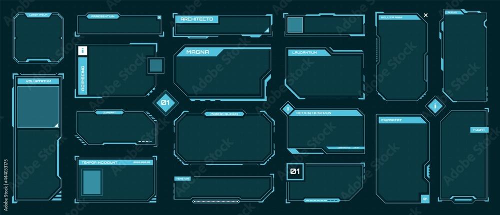 Obraz Hud frames. Futuristic text box, border, frame. Sci-fi digital screen, hologram panel. High tech hud interface elements vector set. Modern windows with buttons for computing innovative game fototapeta, plakat