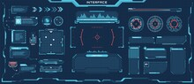 Futuristic Hud Elements. Cyberpunk Space Digital Panels, Frames, Callout Titles, Progress Bars. Sci-fi Game Interface Element Vector Set. Virtual Screen With Digital Panel For Games