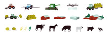 Agriculture And Livestock Icons Set. Agricultural Machinery, Building, Farm Animals, Cattle, Irrigation, Plowing Tractor, Combine Harvester, Drone. Farming Industry Signs. Isolated Vector Illustration