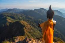 Buddha Statue And Mountain View