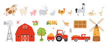 Set Farm Elements. Collection Farm Animals In A Flat Style. Illustration With Pets Cow, Horse, Pig, Goose, Rabbit, Chicken, Turkey, Goat, Sheep, Barn, Mill, Tractor Isolated White Background. Vector