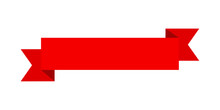 Vector Red Ribbon Banner Set. Flat Red Ribbon For Discount Label In Product Sales.
