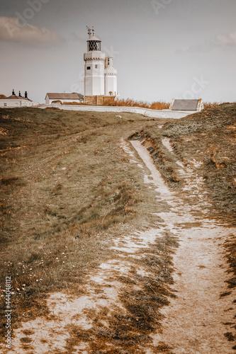 Fototapeta St Catherine's lighthouse, Niton Isle of wight overlooking cliffs in autumn