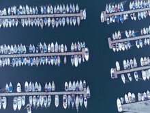 Aerial View From Marina Flisvos With Yatches' Motifs At The Sunset