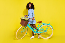 Full Body Photo Of Happy Afro American Woman Bike Spring Good Mood Smile Isolated On Yellow Color Background