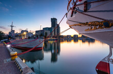 Harbor In Gdynia With Modern Architecture At Dusk. Poland