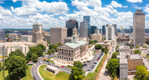 Aerial view of Nashville Capitol and skyline on a sunny day. Nashville is the capital and most populous city of Tennessee, and a major center for the music industry