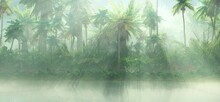 Rain In The Jungle, Tropical Forest In The Morning Fog, Palm Trees In The Sun