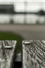 Worn Bench Along The Lakefront