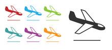 Black Plane Landing Icon Isolated On White Background. Airplane Transport Symbol. Set Icons Colorful. Vector