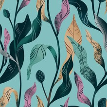 Multicolored Floral Pattern On A Green Background, Seamless Stylized Plants.