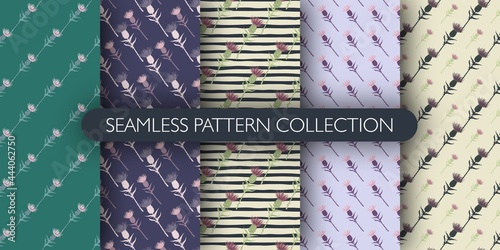 Fotografiet Set of doodle seamless pattern with burdock silhouettes