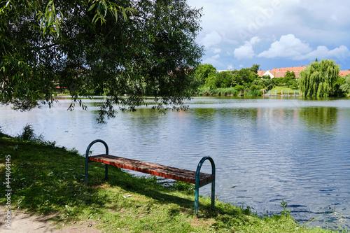 Obraz na plátne Stepnicky rybnik in town Telc, Czech Republic