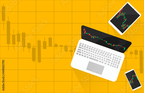 Foto Laptop, tablet, smartphone  with candlestick stocks market trading graph on scre