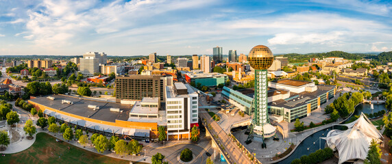 Aerial panorama of Knoxville, Tennessee skyline on a late sunny afternoon, viewed from above Worlds Fair Park. Knoxville is the county seat of Knox County in the U.S. state of Tennessee.