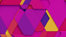 Multicolored Tech Background With A Geometric 3D Structure. Vibrant, Minimal Design With Simple Futuristic Forms. 3D Render.