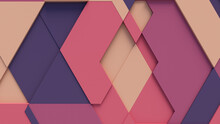 Multicolored Tech Background With A Geometric 3D Structure. Bright, Minimal Design With Simple Futuristic Forms. 3D Render.