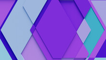 Purple And Turquoise Tech Background With A Geometric 3D Structure. Clean, Minimal Design With Simple Futuristic Forms. 3D Render.