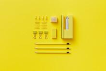 Paper Clips, Pencils, Pins, Stapler, Eraser And Sharpener