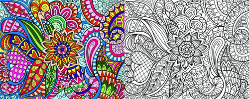 Obraz na plátně Doodle colouring book page for adults and children