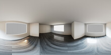 HDRI Environment Map. Empty White Room With Grey Wood Floor. Window Illuminates The Space With Bright Natural Light.