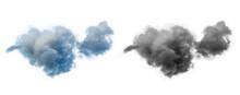 Single Dramatic Looking Blue Rain Cloud On White Background With Luma Mask.