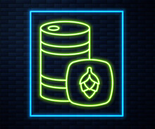 Glowing Neon Line Metal Beer Keg Icon Isolated On Brick Wall Background. Vector