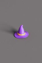 One Purple Witch Hat On Dark Grey Background