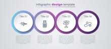 Set Line Plane, Suitcase, Road Traffic Sign And Escalator Down. Business Infographic Template. Vector