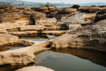 Rocks In The Mekong River In The Dry Season