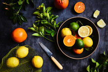 Still Life Of Various Citrus Fruits Horizontal Shot