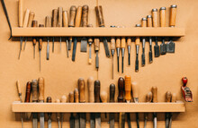 Carpenter Tools Hanged On Wall