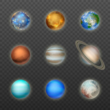 Vector 3d Realistic Space Planet Icon Set On Transparent Background. The Planets Of The Solar System. Galaxy, Astronomy, Space Exploration Concept