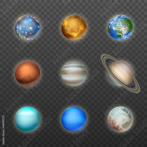 Fotografie, Obraz Vector 3d Realistic Space Planet Icon Set on Transparent Background