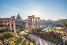 Historic Roman Forum In Rome, Italy